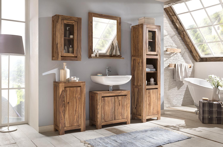 badm bel hochschrank palisander massiv holz wandschrank badschrank 185cm leeston ebay. Black Bedroom Furniture Sets. Home Design Ideas