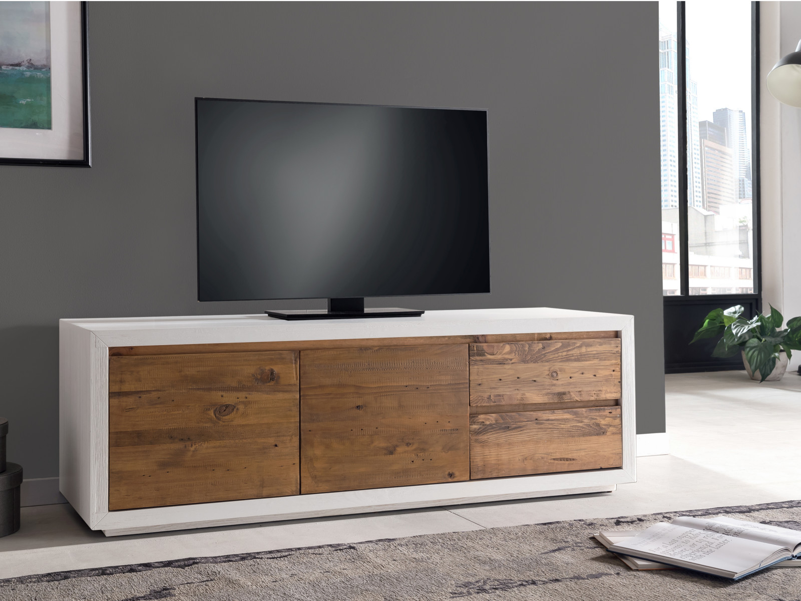 tv bank burnham 150cm wei pinie rustikal lowboard tv m bel wohnzimmerm bel ebay. Black Bedroom Furniture Sets. Home Design Ideas