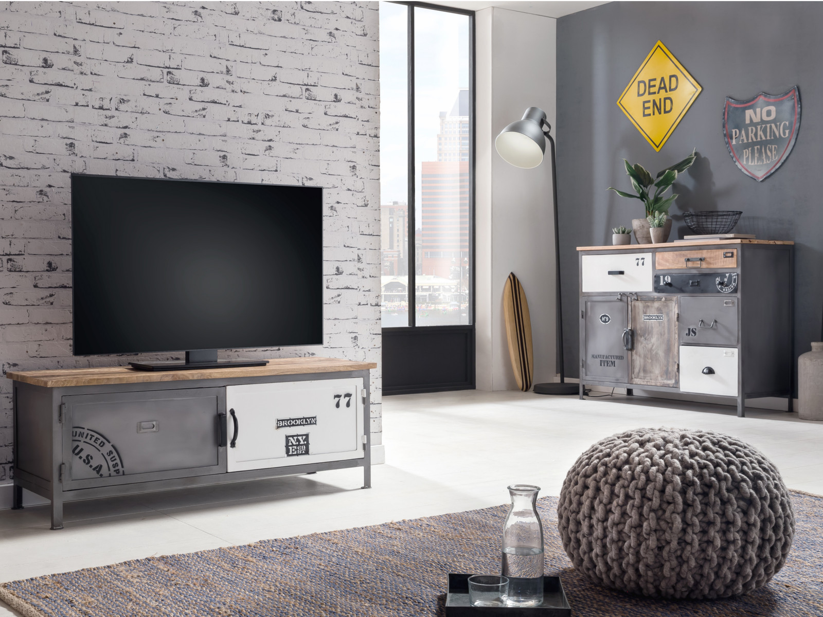 tv bank pinetown 2t rig grau metall industrial look tv m bel wohnzimmerm bel 4251342303915 ebay. Black Bedroom Furniture Sets. Home Design Ideas